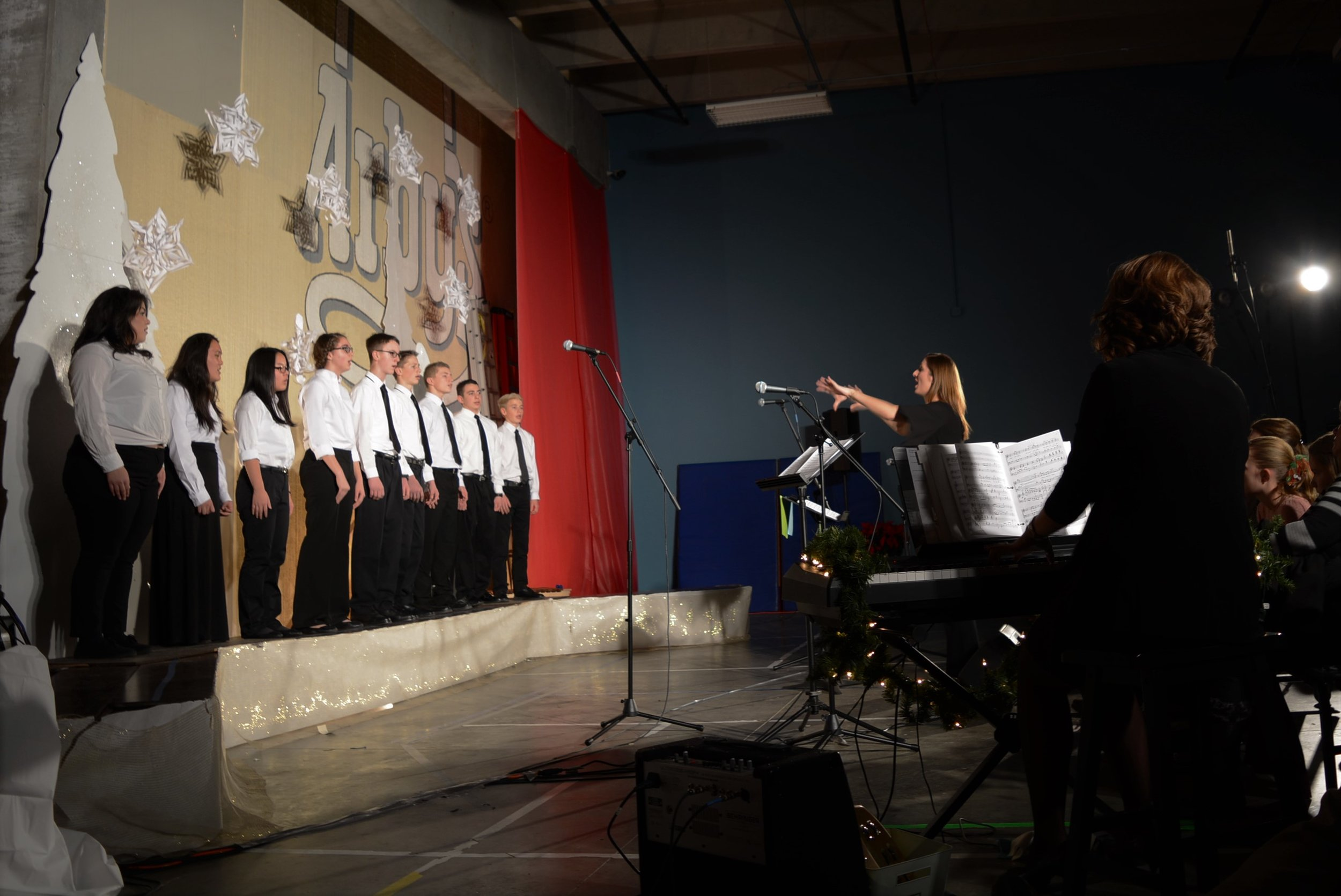 """Our Upper School Choir performed """"A Wish for Hanukkah"""" by L. Brownsey and M.L. Lantz """"Mary, Did You Know?"""" by M. Lowry & B. Greene arr. by J. Schrader """"Fa, La, La, La, La"""" Traditional Carols, arr. by P. Williams and C.Curry"""