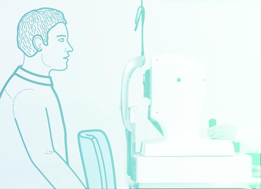 1. - Medicinska sestra bolnika pospremi do OCT aparata, kjer se le ta se usede na stol ob OCT aparatu.