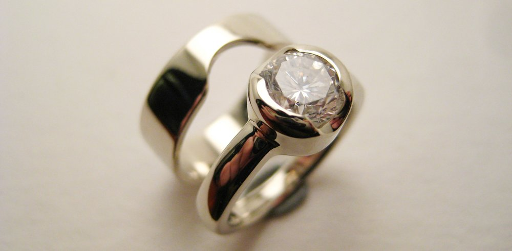 Diamond, 14k white gold
