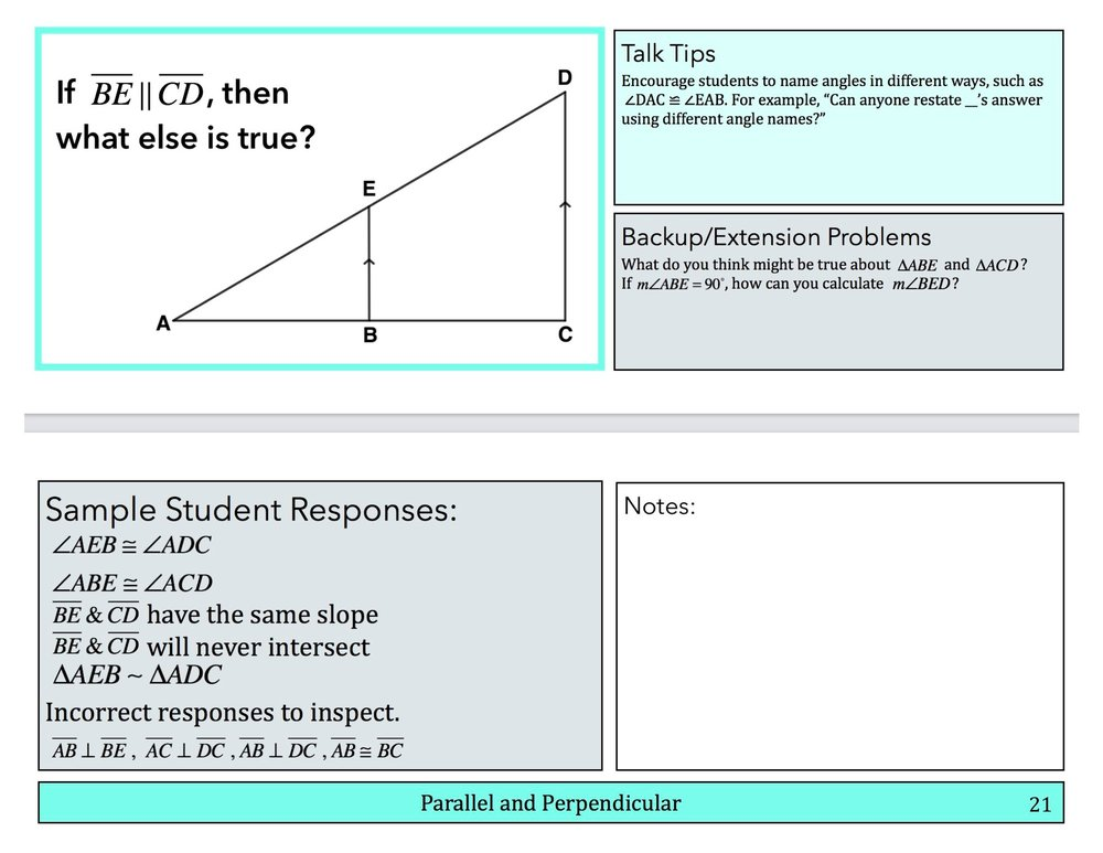 Sample pages from the Geometry book. Notice the Talk Tips, Sample Student Responses (including incorrect responses that are interesting to examine) and even Backup and Extension problems to keep the conversation going.