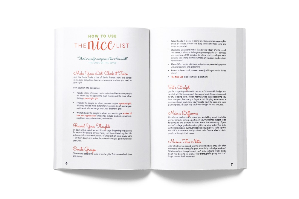 The Nice List includes thoughtful suggestions for better gift giving as well as thoughts on how to use the journal itself.