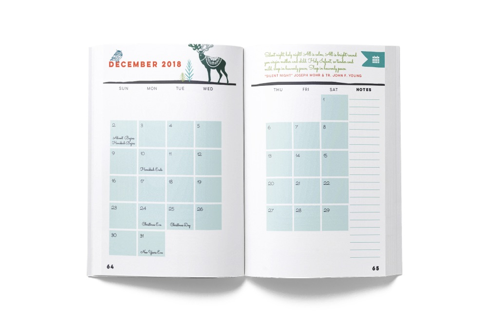 The Nice List includes both weekly and monthly spreads for November and December, 2018. So you can also keep track of parties, performances, and mailing deadlines as well as baking and shopping.