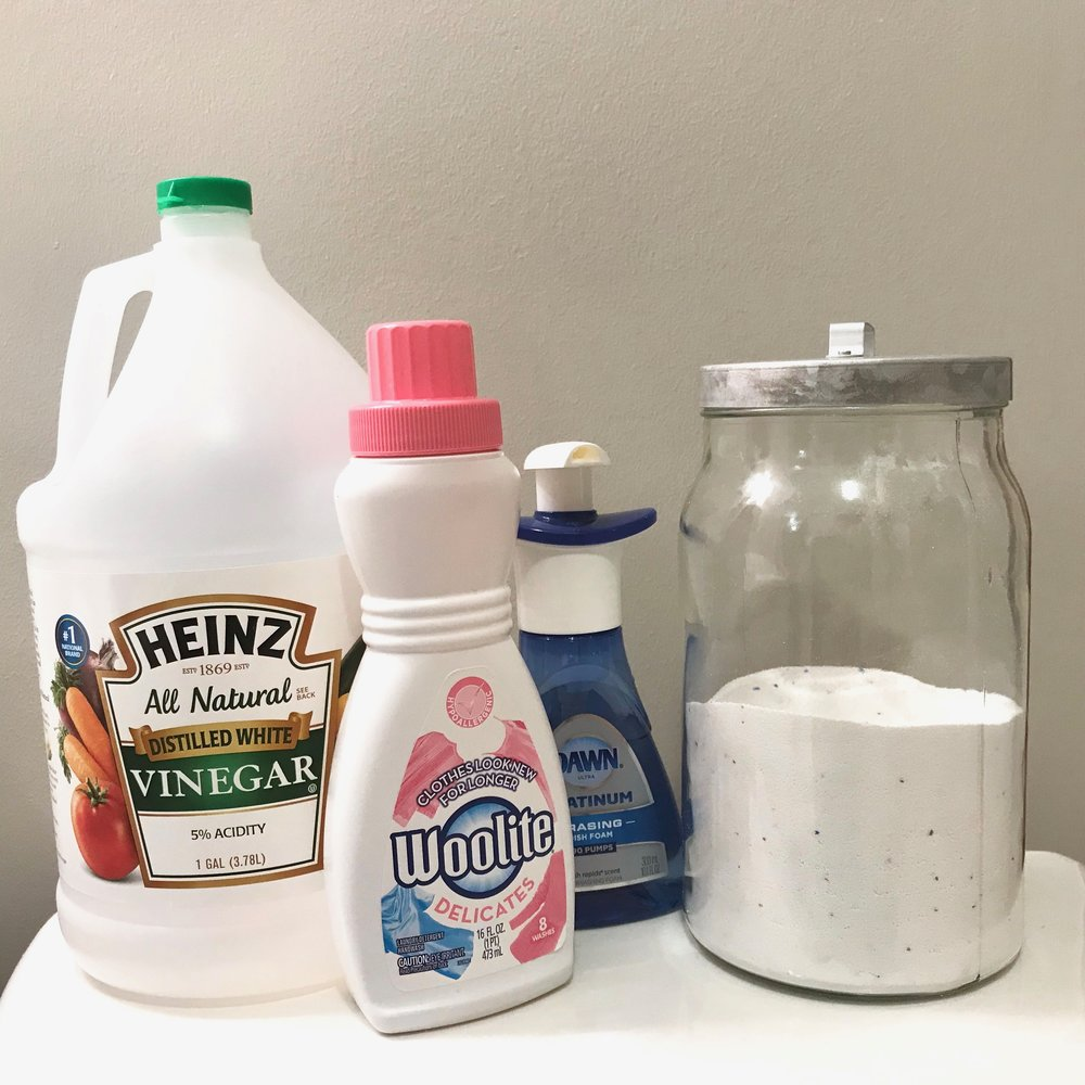 Gather your cleaning supplies before you begin.