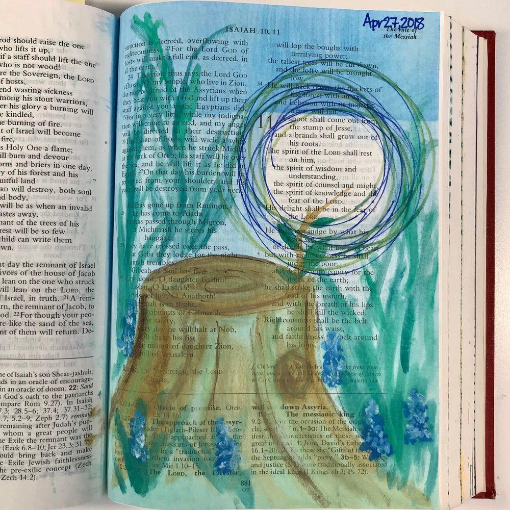 Isaiah 11: 1-2 | Watercolor, Pen