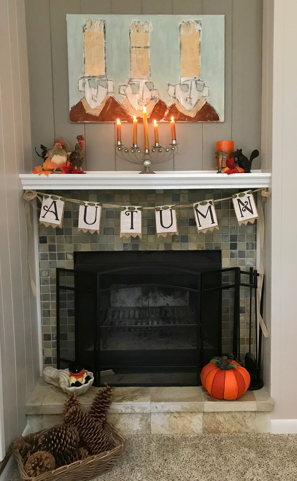 Our fireplace with the Autumn Bunting in place. So cozy!