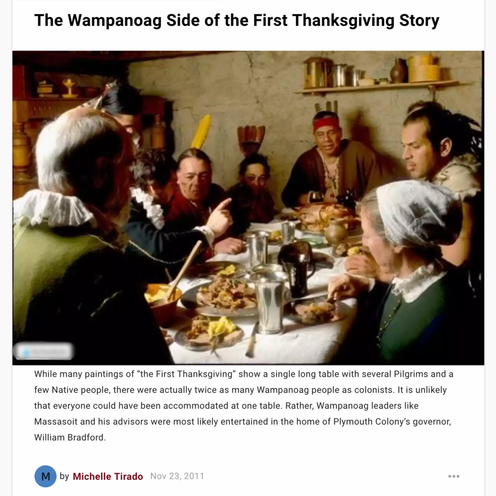 The first Thanksgiving from the perspective of the Wampanoag people.