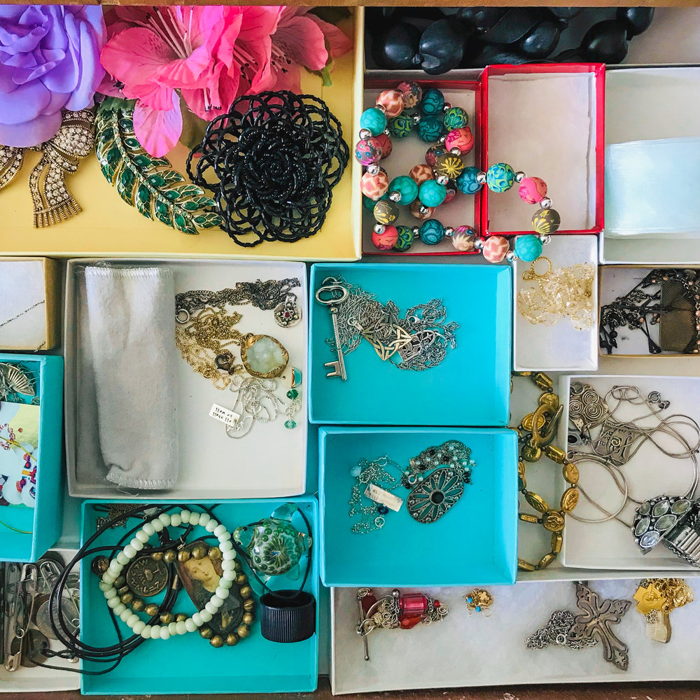 Small boxes turn a drawer of jewelry into a beautiful bento box.