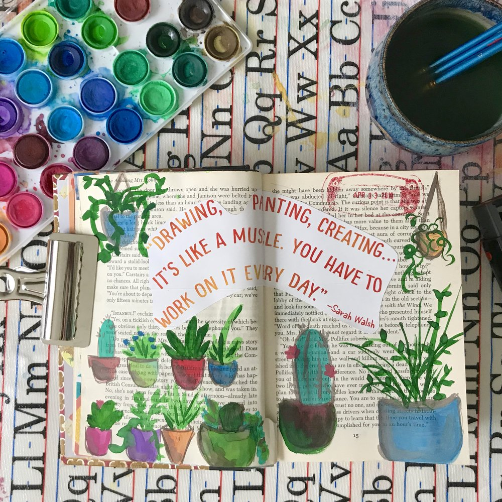 Day 2: Creative Muscles | Watercolor, Mixed Media