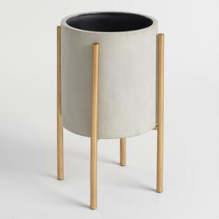 Large Grey Planter with Brass Stand , Cost Plus World Market | $45