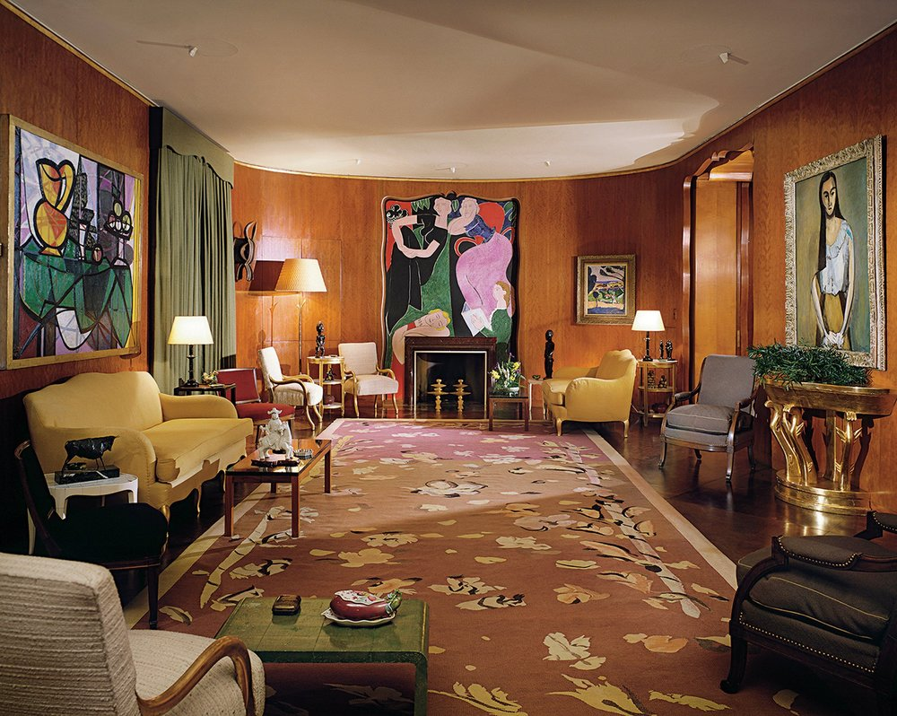 Jean-Michel Frank's last project, the design for Nelson Rockefeller's Fifth Avenue apartment pulls together furniture of his own design with a sculpted ceiling by Fernand Leger, a monumental painting by Matisse, a carpet designed by Christian Bérard and accents by Alberto Giacometti.  image: Ezra Stoller/Esto