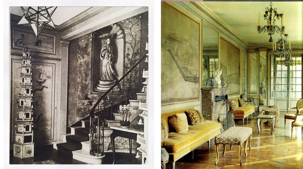 """Rooms designed by celebrity interior designer """"Lady Mendl"""" a.k.a. Elsie Dewolf emphasized lightness and femininity, often making use of then newly fashionable """"chinoiserie"""" and other exotic matierals."""