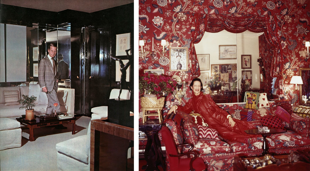 """Billy Baldwin, left, in his Manhattan apartment, designed Diana Vreeland's apartment (right) to be """"a garden from hell."""" image (right): Horst P. Horst"""