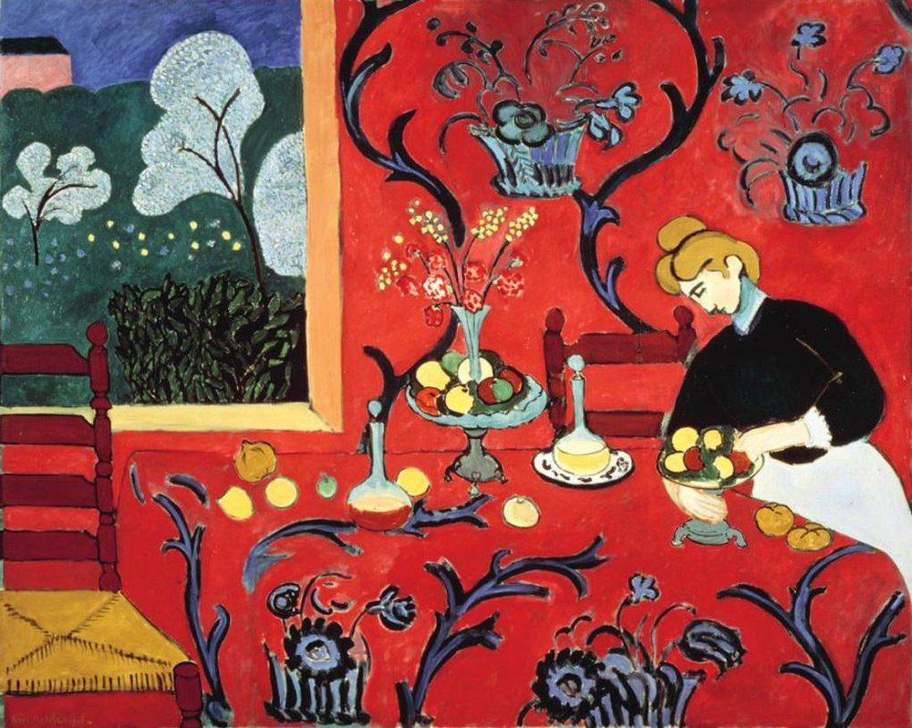"""Matisse's """"The Dessert: Harmony in Red,"""" an inspiration for Baldwin's audacious design for Diana Vreeland's Park Avenue Apartment."""