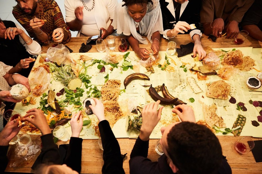 Performance artist / Caterer Yardy invites guests to eat with their hands on a series of custom placemats. image:  t magazine