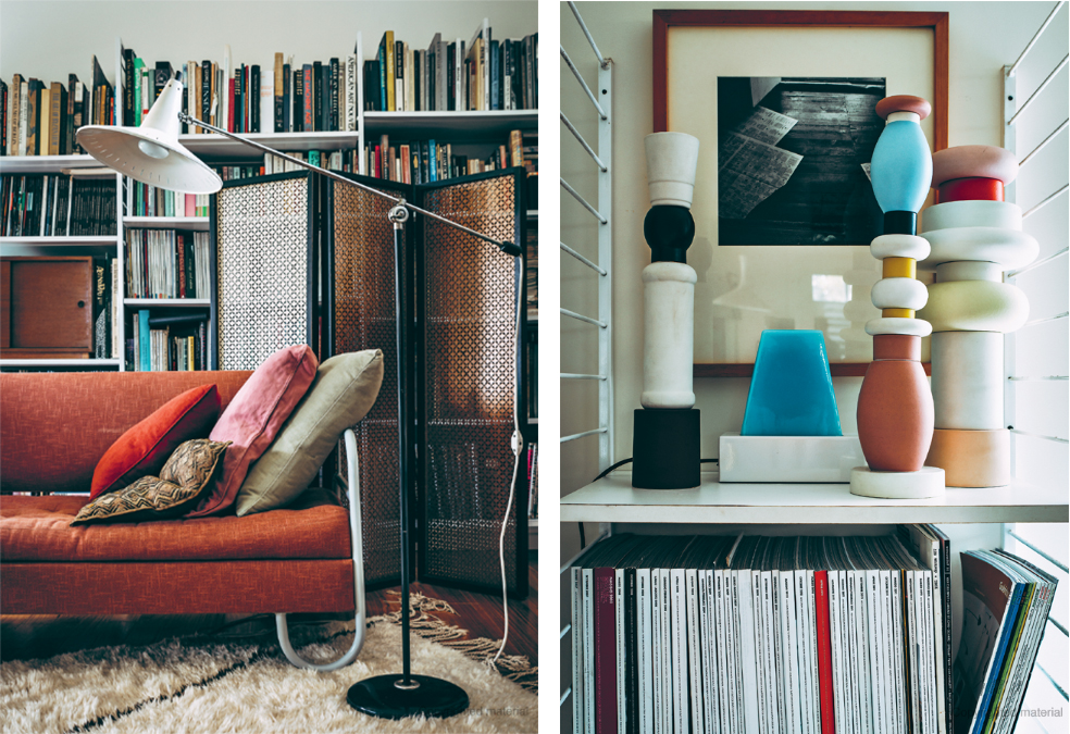 A 1930s P.E.I. sofa and articulated Dutch lamp in the home of Rodney de Soos. At right, a grouping of Memphis Milano totems are just a few of his collections from the 1980s.