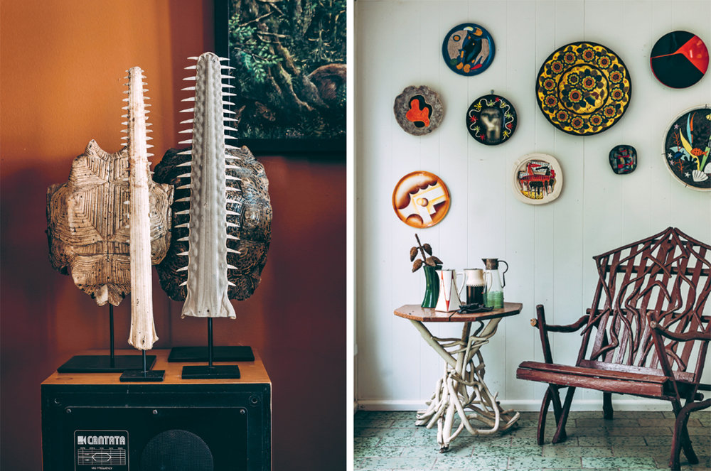 American desert tortoise shells, European plates, ceramics and Australian folk-art furniture take on new lives in surprising combinations at Geoffrey Hatty's home.