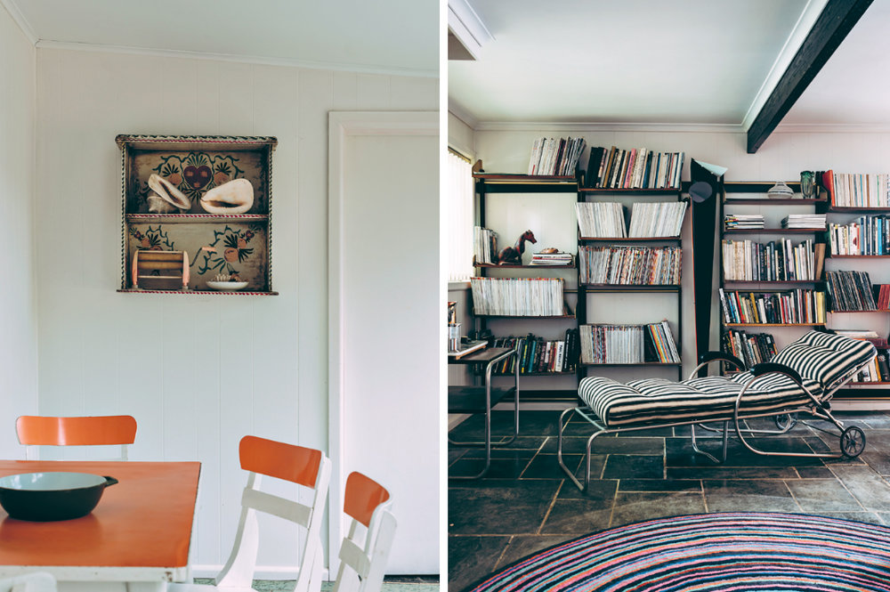 At left, a hand-painted folk art shelf from Mexico above a 1960s orange table set. At right, a Missoni rug echoes the stripes of a Bauhaus chaise lounge in the library.