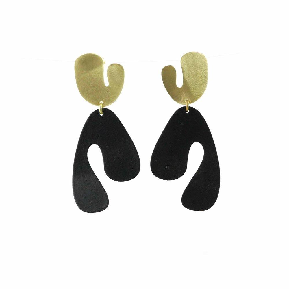 Large Fauvism Earrings, Black , Burke Decor | $93