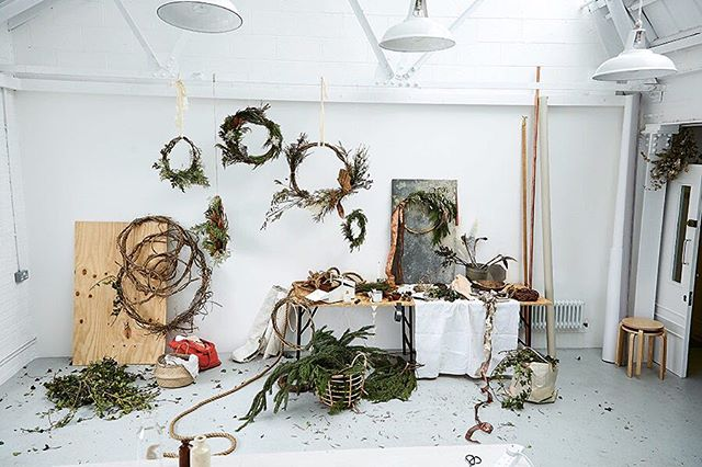 "Wreath inspiration from Katie Smyth and Terri Chandler of @wormlondon 🌲🌾. I'm hunkering down with their book ""wreaths"" this weekend to see if I can make my own! #wreath #wreathmaking #floralinspiration"