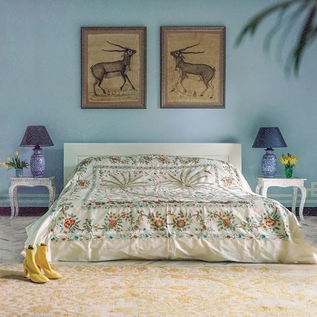 The perfect bedroom (and shoes!) at @banjanan designer Caroline Weller's Jaipur home, via @tmagazine