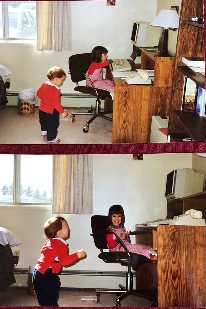 My sister and me playing with the IBM, circa 1991. She is almost certainly  killing  the ape game right now.