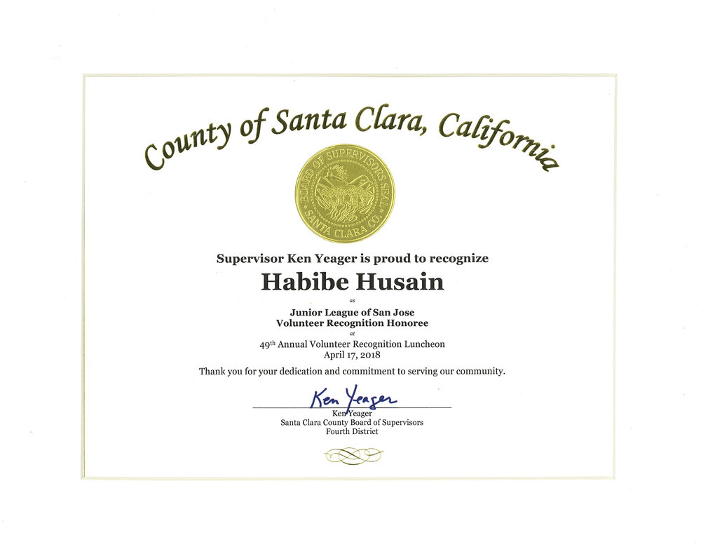 Certificate presented by Supervisor Ken Yeager from Santa Clara County Board of Supervisors, Fourth District