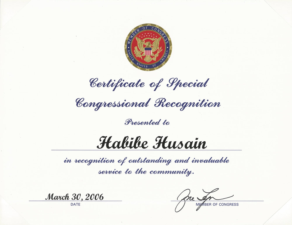 Certificate of Special Congressional Recognition by a Member of Congress (not pictured: two other Certificates of Special Congressional Recognition signed by two other Members of Congress)