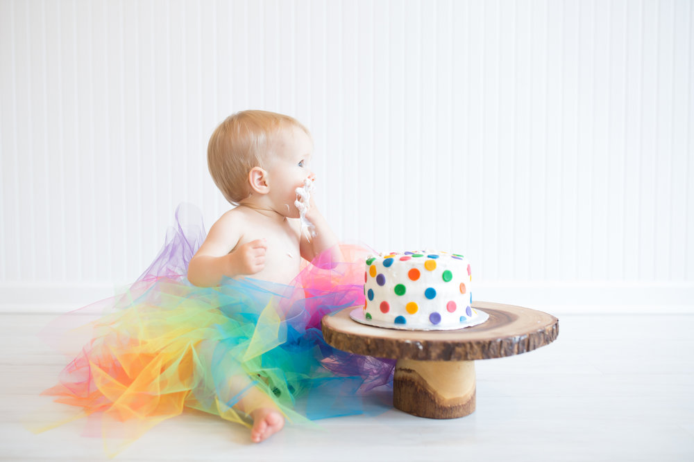 Milestone cake smash Newborn Studio Session | Cara Peterson Photography Rockford IL-13.jpg