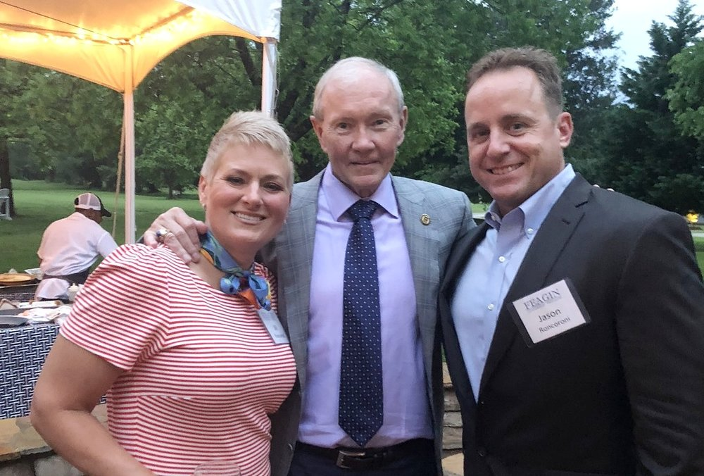 My wife, Jill, retired General Martin Dempsey, and Yours Truly at the evening reception for Feagin Leadership Forum on 18 May 2018.