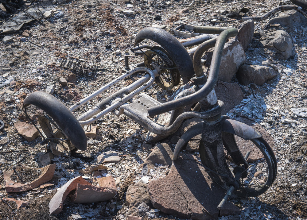 Child's Tricycle in burned home front yard, Coffey Park, Santa Rosa, October 2017