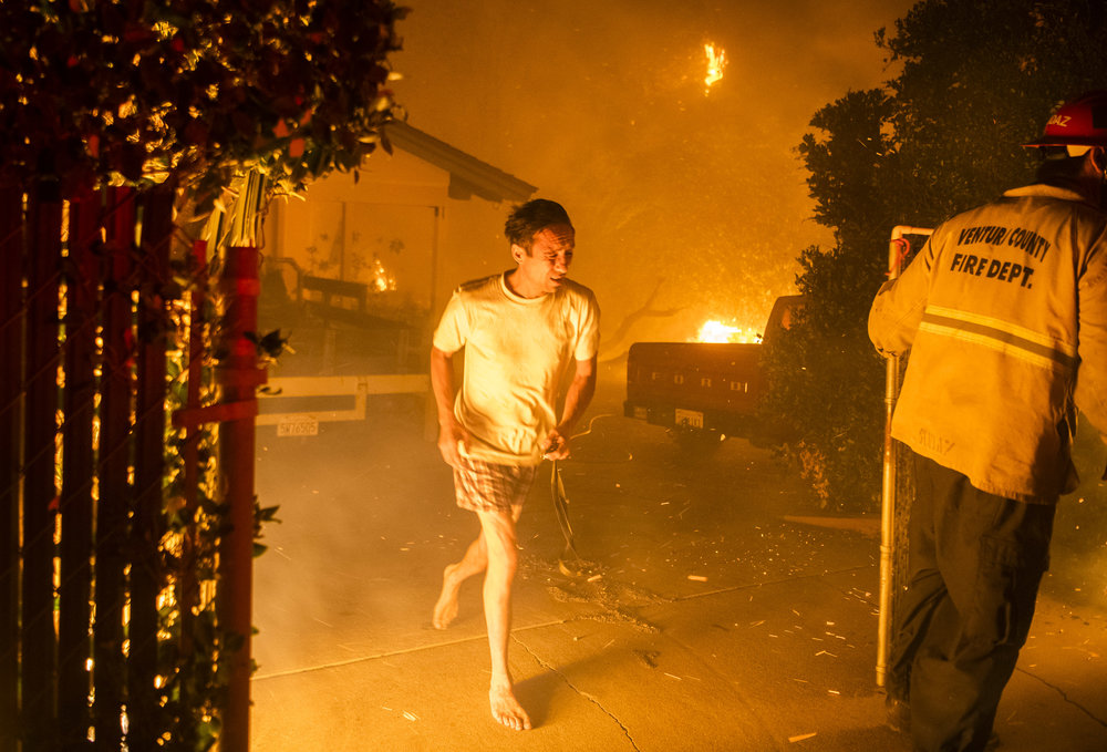Masao Barrows flees for his life in his pajamas as the Woolsey Fire ignites his front yard and home in Thousand Oaks, approx. 2am, Friday November 9th.