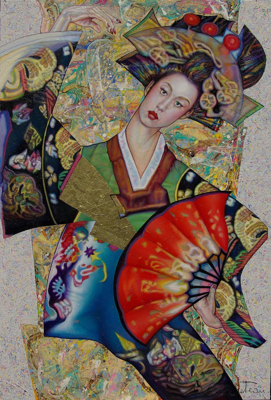 Geisha à l'éventail rouge (100x65)