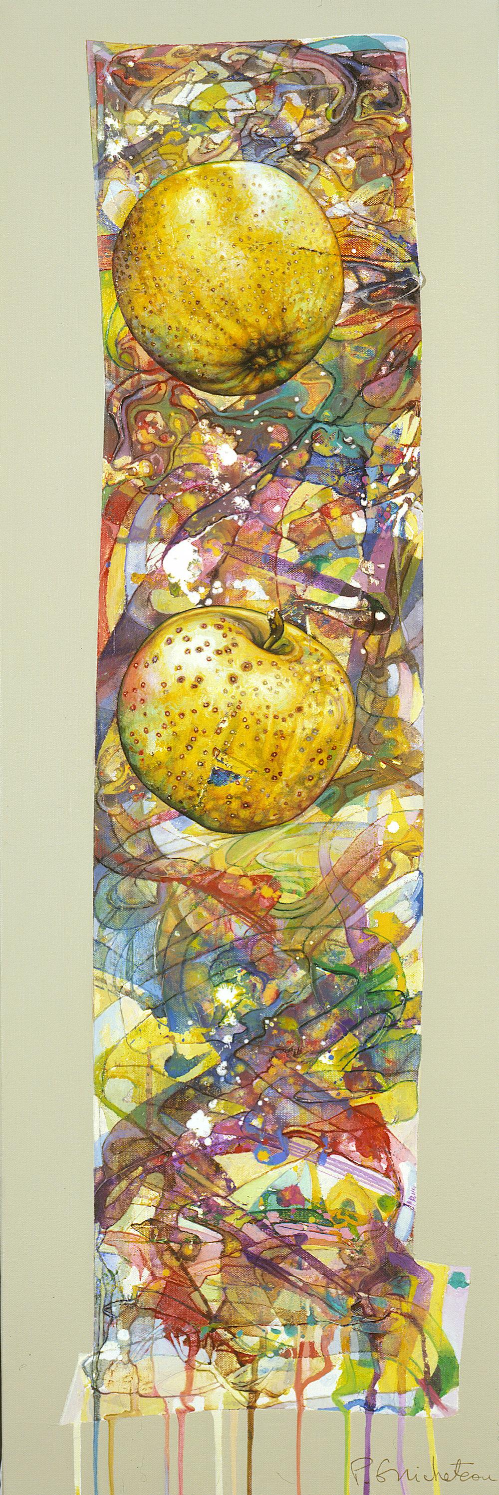 Frise aux 2 pommes jaunes (90x30)