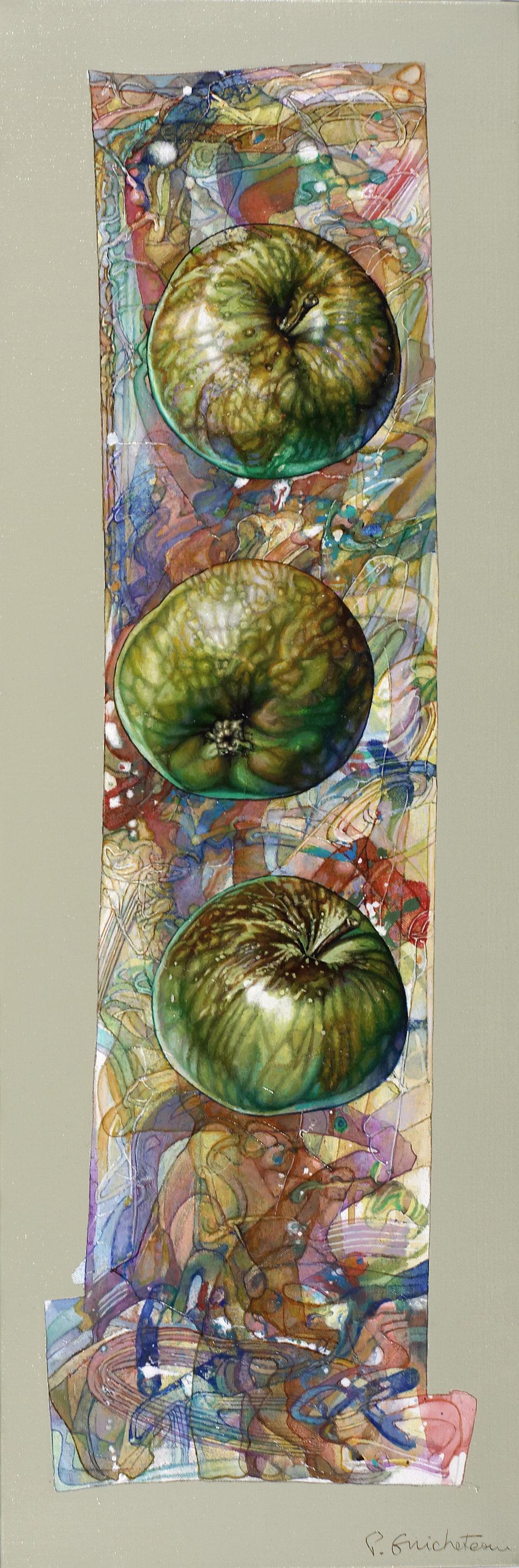 Frise aux 3 pommes vertes (90x30)