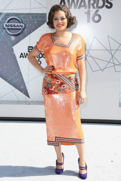 Andra Day wearing a vintage dress and Marchesa shoes to the BET Awards