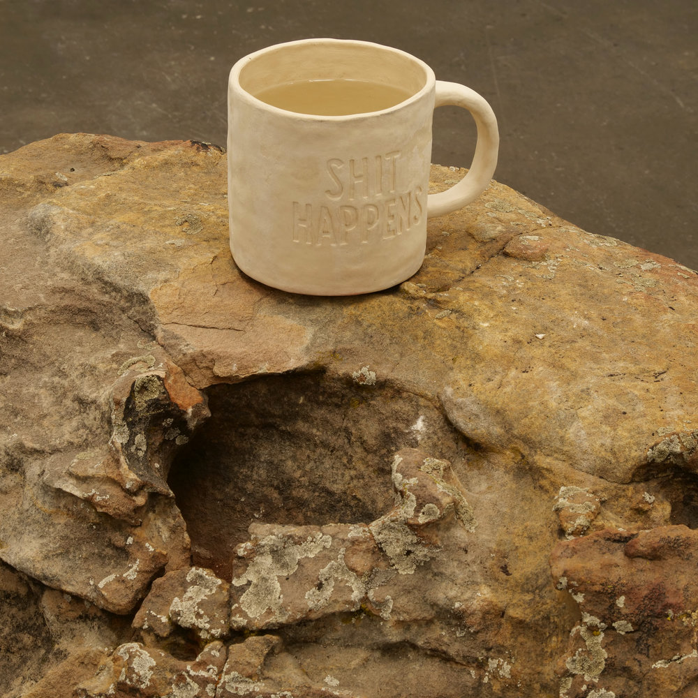 Will Rogan,  Filter (Shit Happens 2) , 2018, Ceramic, sea water, stone, 36 x 50 x 52 in