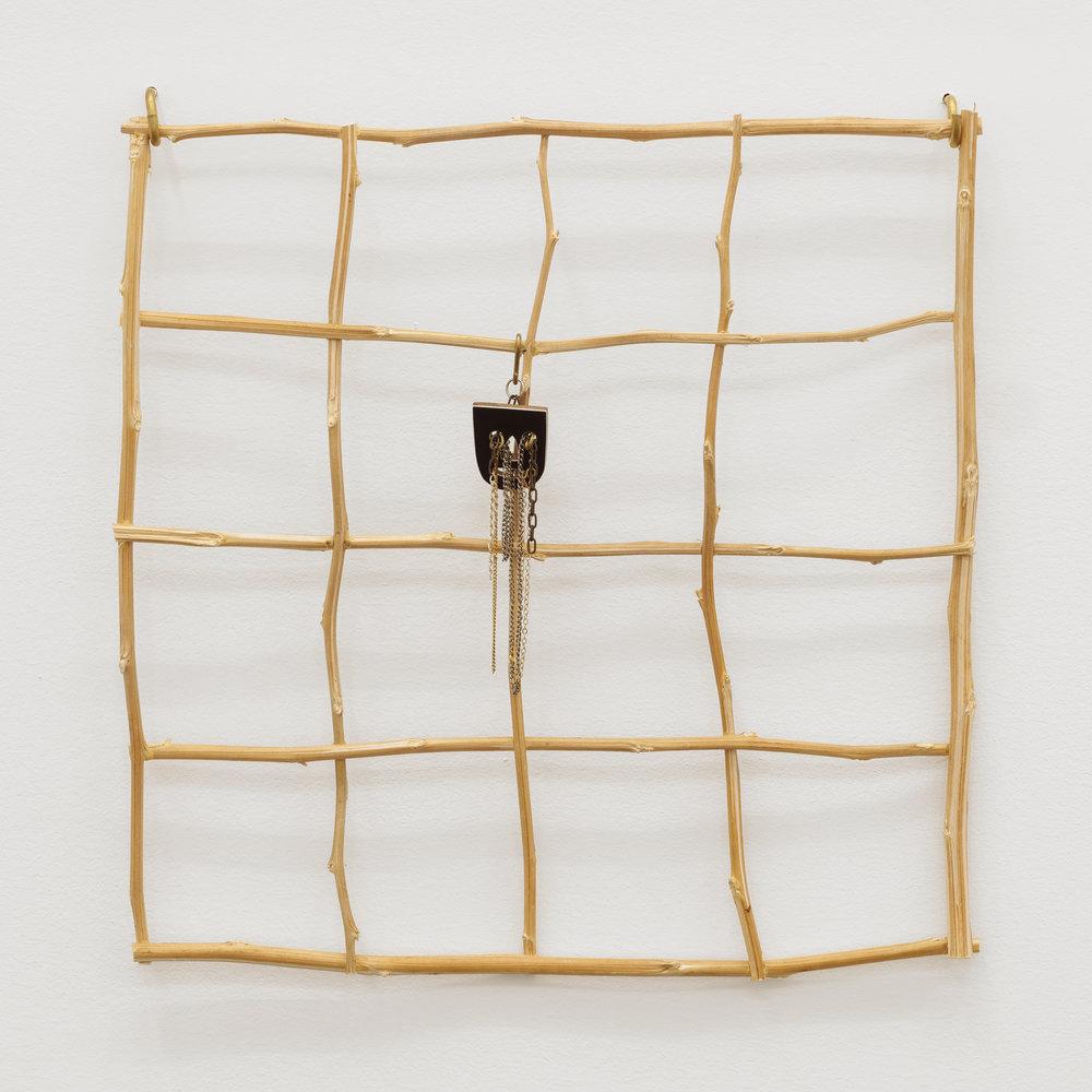 Will Rogan,  Quad , 2018, Hemp, wood, paint, chain, 22 x 18 x 1/2 in
