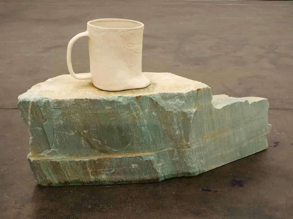 Will Rogan,  Filter (Barcelona) , 2018, Ceramic, sea water, stone, 26 1/2 x 48 x 13 1/2 in