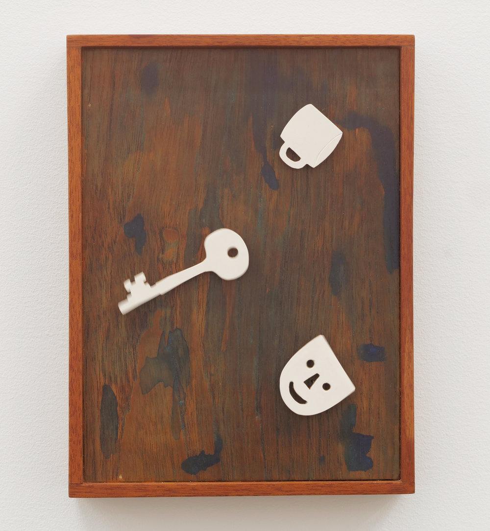 Will Rogan,  Sea Days , 2018, Wood, paint, clock mechanism, wax, 10 1/2 x 7 7/8 x 2 in
