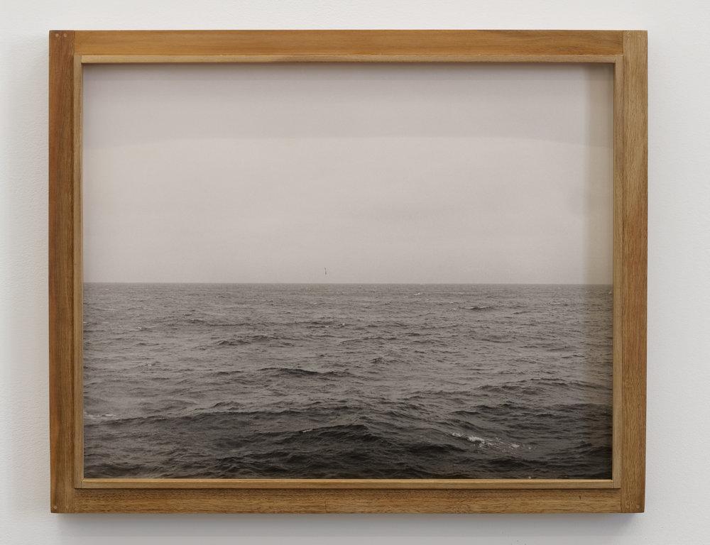 Will Rogan,  Albatross , 2018, Gelatin silver print, wood, 17 1/4 x 21 1/4 x 1 1/2 in