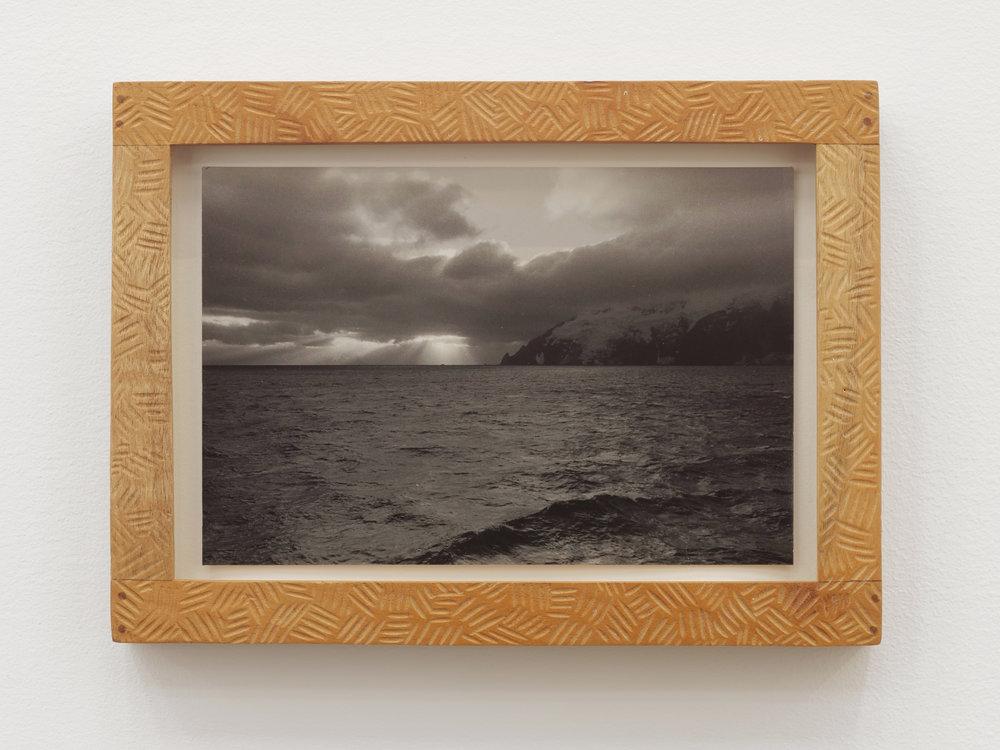 Will Rogan,  Elephant Island , 2018, Gelatin silver print, wood, 6 1/8 x 8 1/2 x 1 in