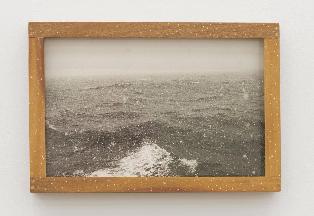 Will Rogan,  Drake Passage , 2018, Gelatin silver print, wood, paint, 9 3/4 x 14 3/8 x 1 1/2 in