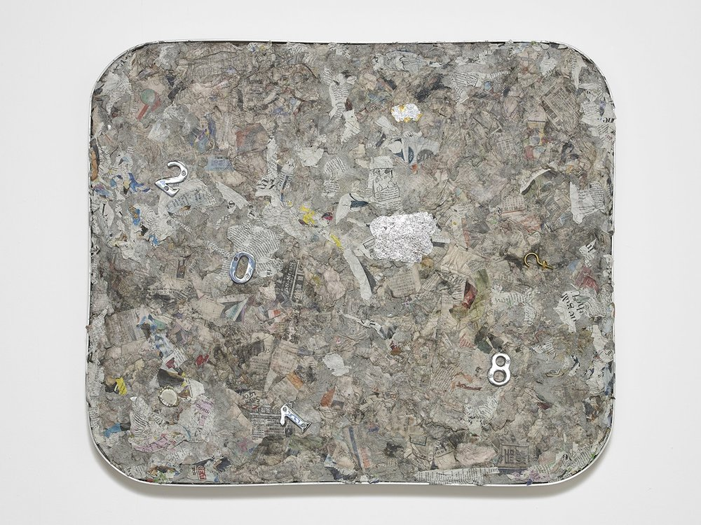 Liz Craft,  2000 Something , 2018, Papier-mache, mixed media, aluminum, wood, 67.3 x 80 x 5 cm / 26.5 x 31.5 x 2 in