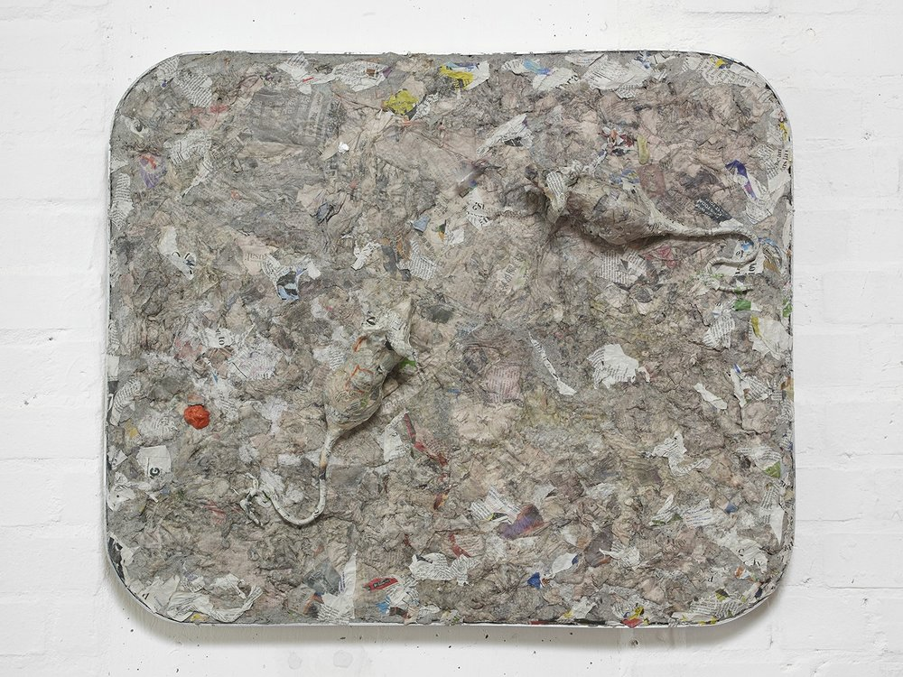 Liz Craft,  Norwegian Wood , 2018, Papier-mache, mixed media, aluminum, wood, 67.3 x 80 x 5 cm / 26.5 x 31.5 x 2 in