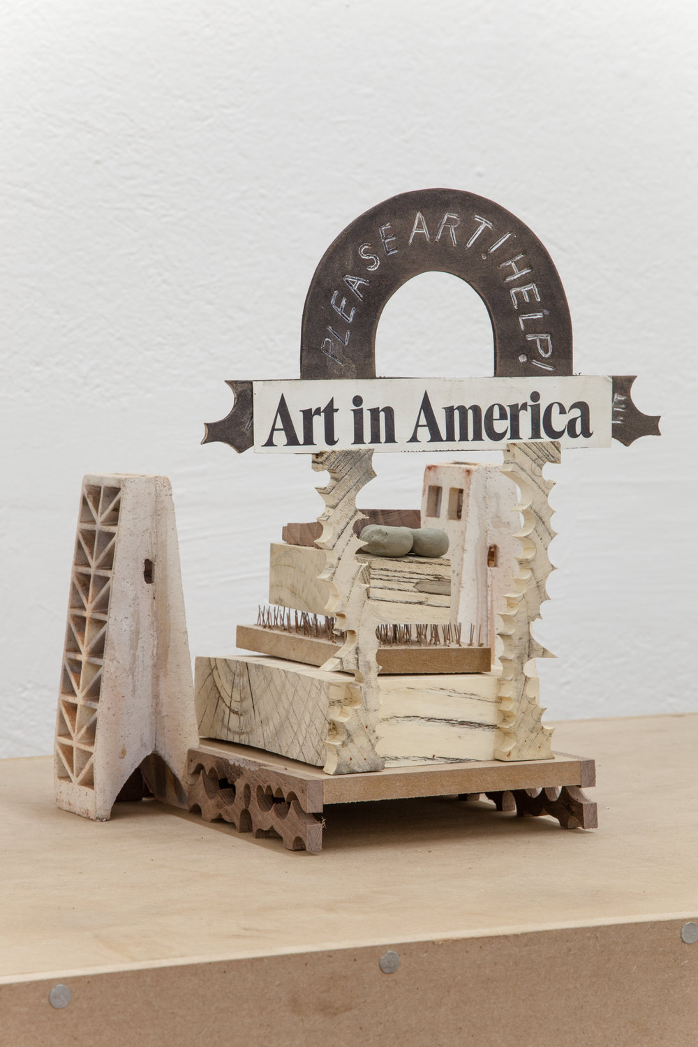 Harry Gould Harvey IV,  Please Art Help, Help Art Please! , 2018, Foraged Swamp Maple from Wilbur Woods, Foraged Walnut from Aquidneck Island, Depression Era Furnace Grates, Foraged Clay from Swans Island, Beheaded Art in America Magazine, MDF, and Micro Pins, 11 x 11 x 14 inches