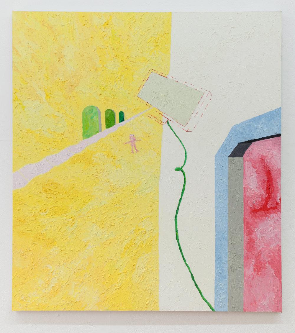 Jesse Sullivan,  Positive Land , 2017, Oil on Canvas, 60 x 54 inches