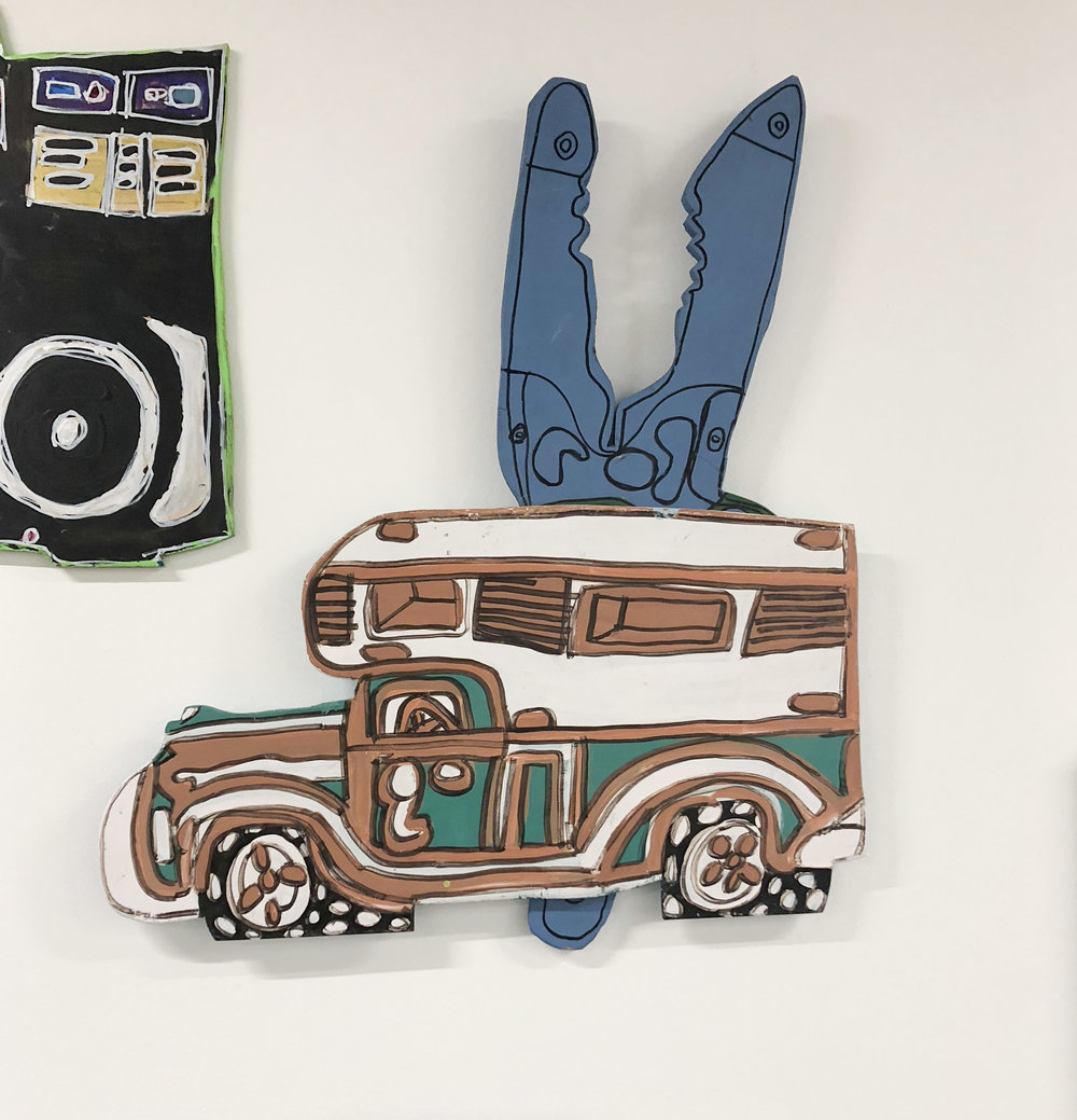 Love these works by John Martin at Creative Growth. Big fan of the multi-tool/leatherman focus.