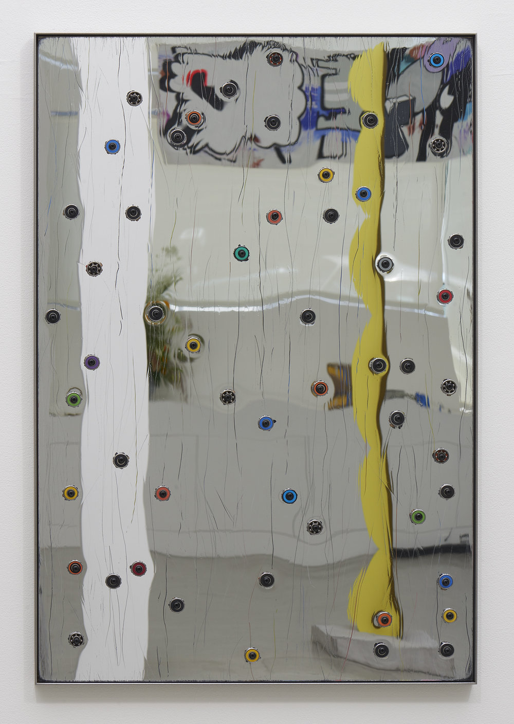 "Davina Semo,  ""USE THE MIRROR,"" SHE TOLD ME, ""THE MIRROR IS A TOOL "", 2018, Acrylic mirror, oriented strand board, assorted ball bearings, hardware, stainless steel, 38 x 25 inches"