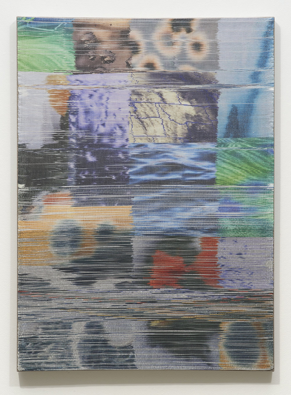 Margo Wolowiec,  Purple Rain II , 2018, Handwoven polymer, linen, dye sublimation ink, 51 x 37 inches
