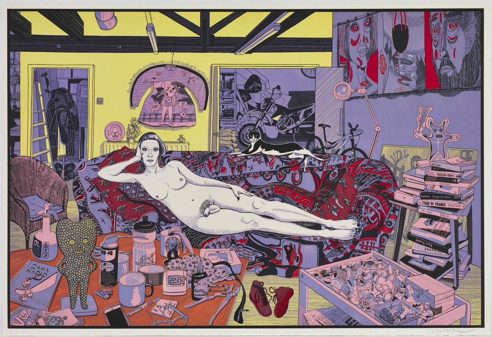 Grayson Perry,  Reclining Artist (small) , 2017, Color etching, 27 5/8 x 40 3/8 inches
